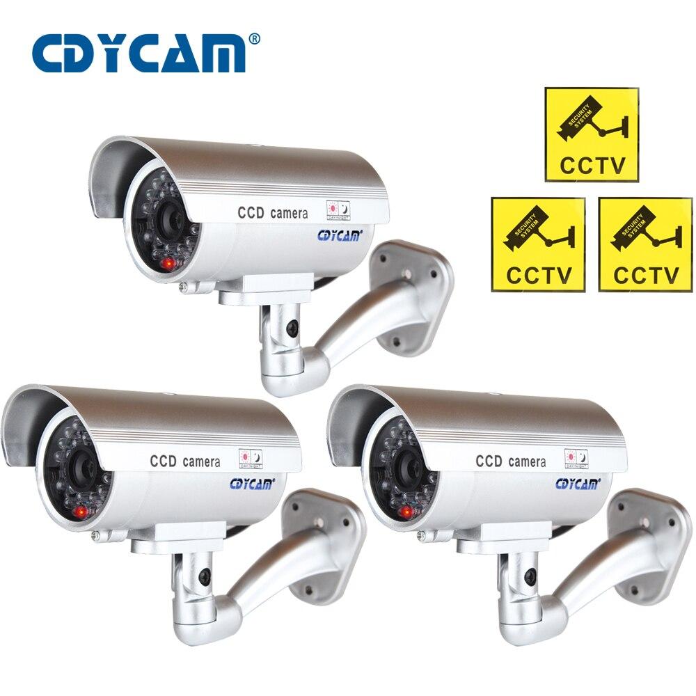 3 uds. (1 bolsa) cámara CCTV falsa a prueba de agua con luz LED para destellear para exteriores o interiores, cámara Aspecto realista falsa para seguridad