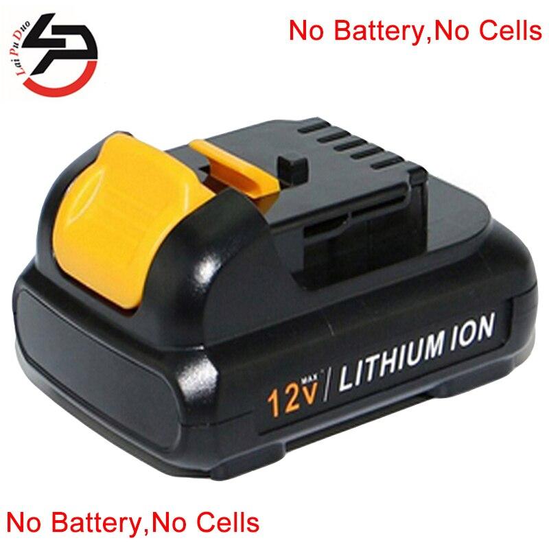 Boîtier de batterie Rechargeable Laipuduo pour coque en plastique Dewalt 12v Li-Ion (boîte sans cellules à lintérieur)