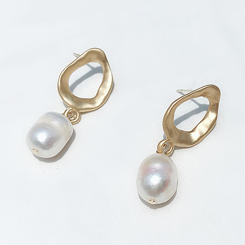 SRCOI Irregular Matte Gold Color Freshwater Pearl Earrings Pendant Silver Color Pin Geometric Zinc Alloy Earrings Minimalist