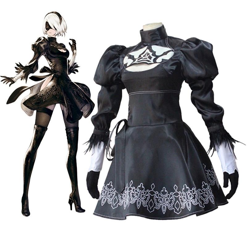 Jogo nier automata cosplay trajes yorha 2 gou b gata cosplay traje festa de halloween feminino anime 2b cosplay traje vestido