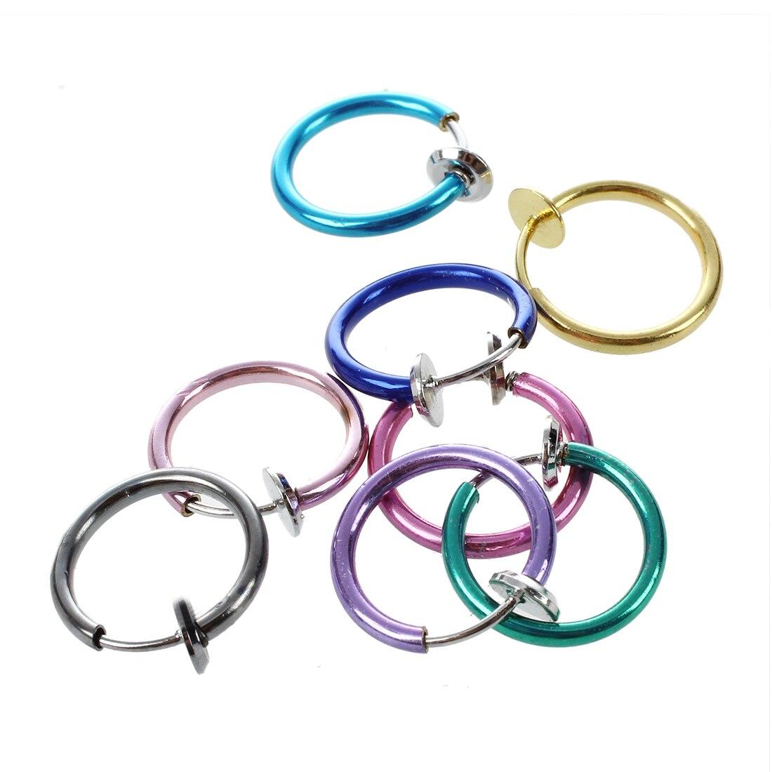 8 Lots Mix Color Clip on Nose Lip Ear Fake Stud Earrings Punk Goth Septum False Hoop Navel Body Piercing Jewelry