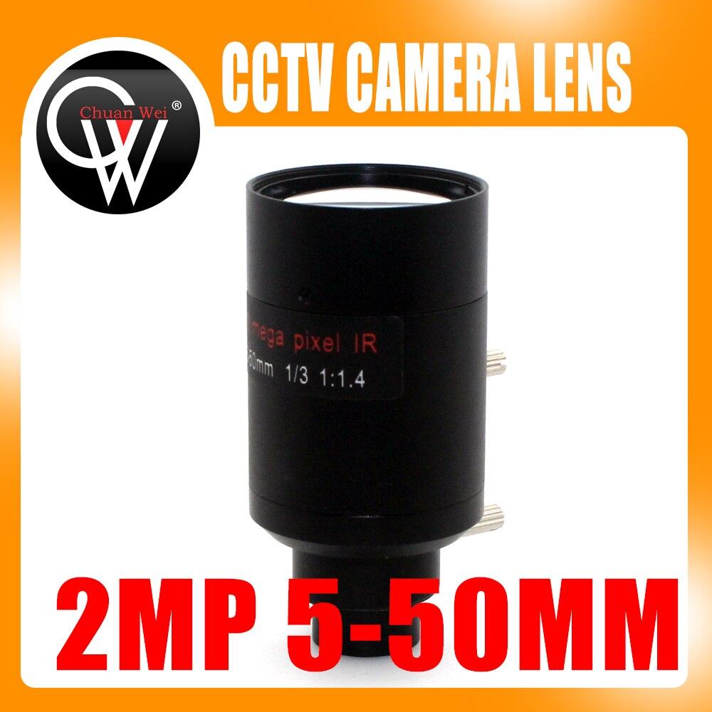 2 megapíxeles de 5-50mm lente Varifocal D14 montaje vista sobre 100m analógico/720 P/1080 P AHD/CVI/TVI/cámara CCTV IP
