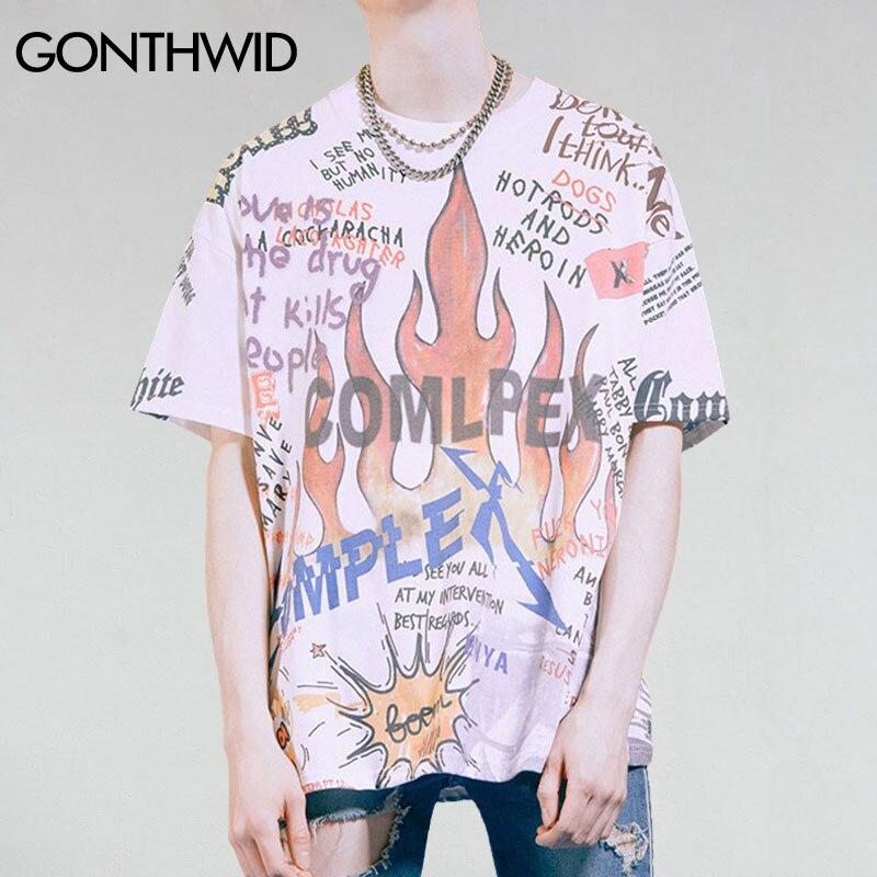 Мужская футболка GONTHWID, в стиле хип-хоп, с принтом в виде скелета и черепа, 2020