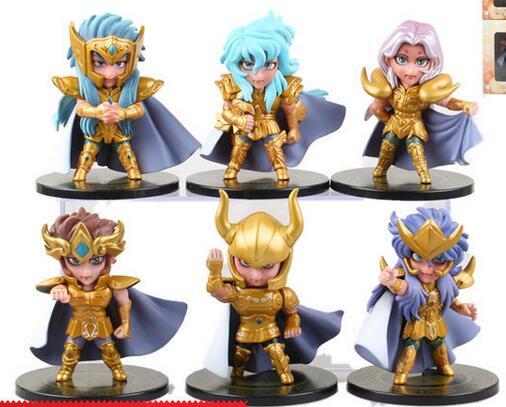 6 sztuk/zestaw Saint Seiya złoty zodiak figurka PVC kolekcja zabawek lalka anime model z kreskówki na prezent dla przyjaciela