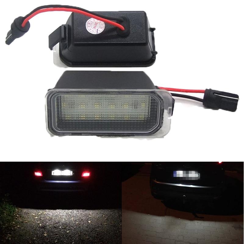 2 uds. Luces LED para matrícula 12V 6000K 18 SMD, Chips para Ford Fiesta JA8 Focus DA3 DYB S-max c-max Monde Kuga