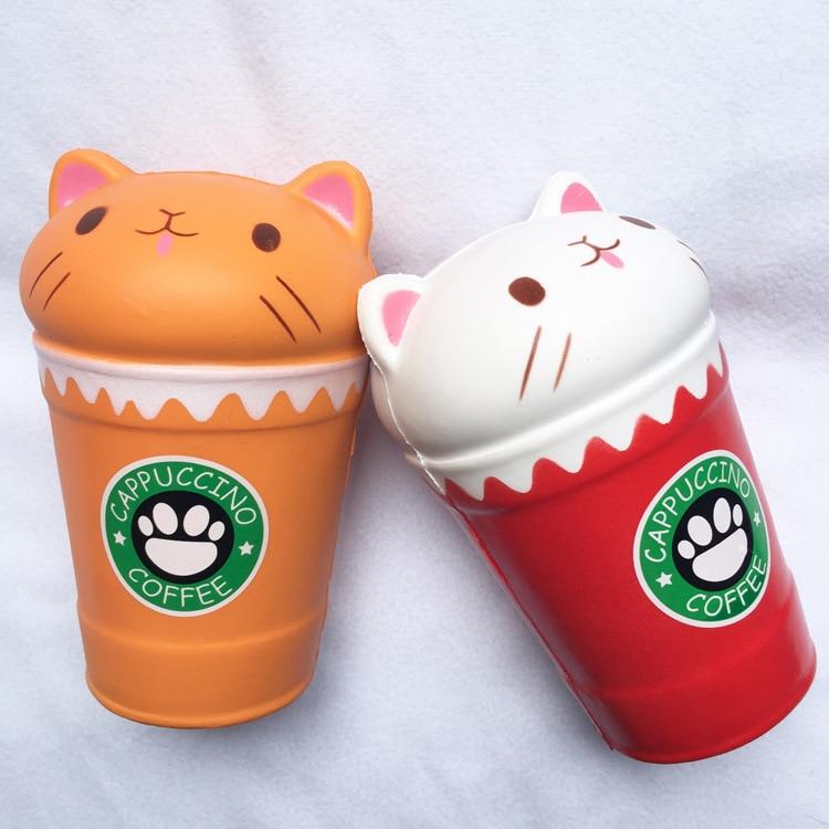 1 PCS Antistress Kawaii Squishies Squish Lento Subindo Jumbo Perfumado Café Cappuccino Copo Gato Engraçado Brinquedos Espremendo Toy