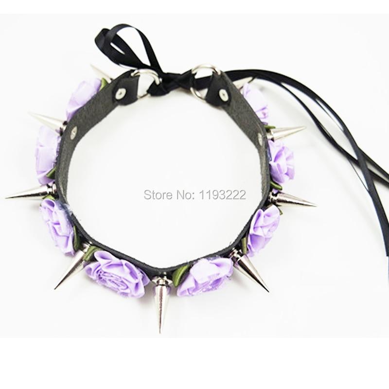 Menina kawaii lolita artesanal flor de couro spikes cravado colar rendas até punk gargantilha colar