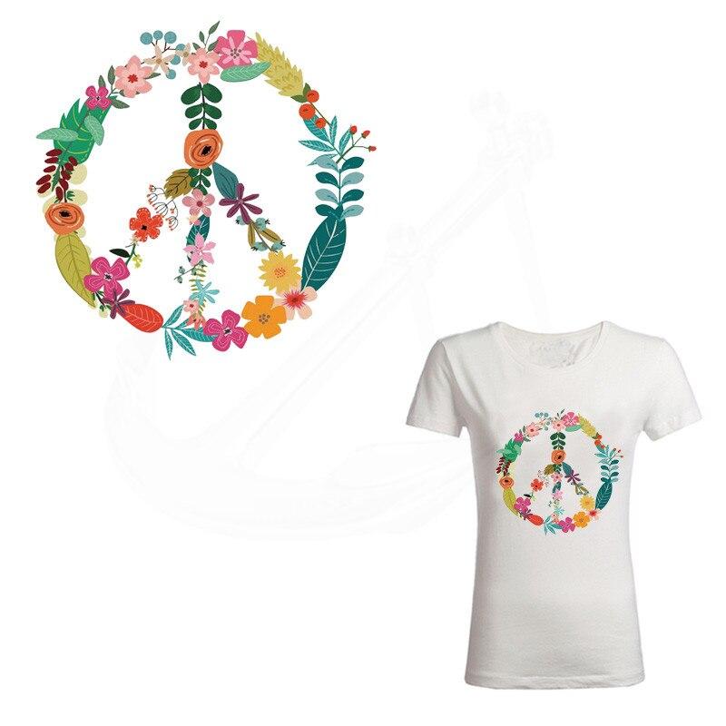 Novos modelos flores paz sinal remendos 24*23cm camiseta vestidos camisola remendo de transferência térmica para roupas por ferros domésticos