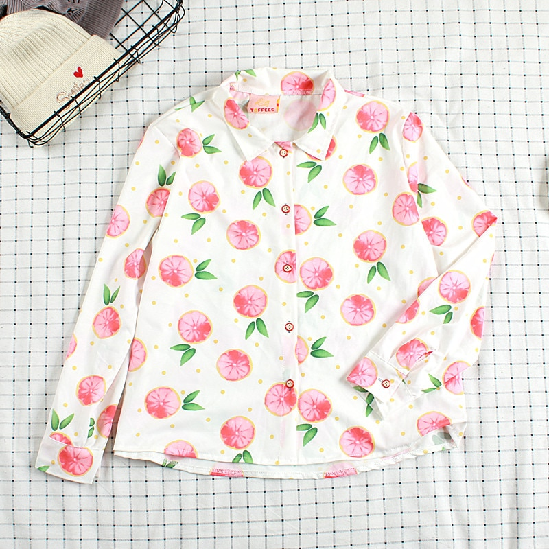 WYNNE GADIS manga larga pomelo imprimir camisetas Turn-down Collar blusa para mujer ropa superior