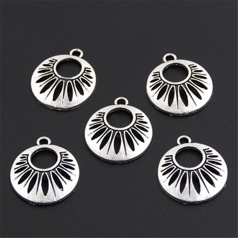 15 pièces couleur argent alliage sable Dollar pendentif à breloques résultats de bijoux pour Bracelet à bricoler soi-même collier ras du cou artisanat A409