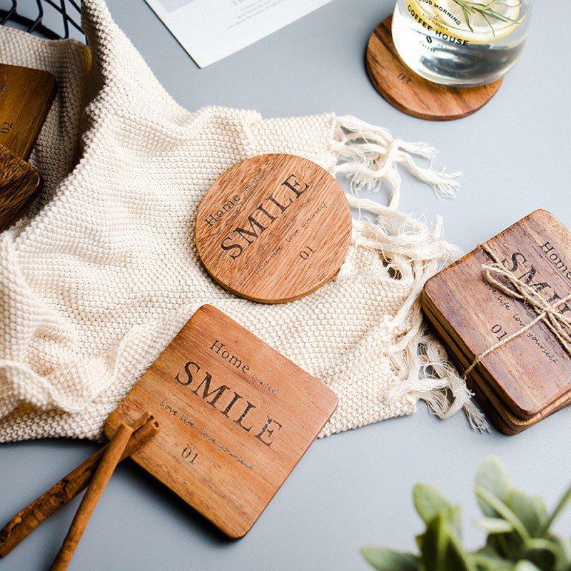 Estilo nórdico posavasos para taza cuadrado redondo de madera taza montaña tapete de mesa mantel de cocina tetera de vidrio bebida pastillas accesorios de mesa