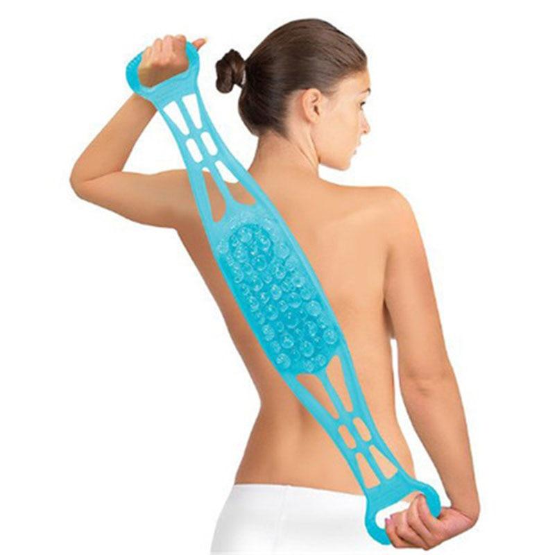 Синий силиконовый двухсторонний скребок для спины с двойным ремнем щетка тела