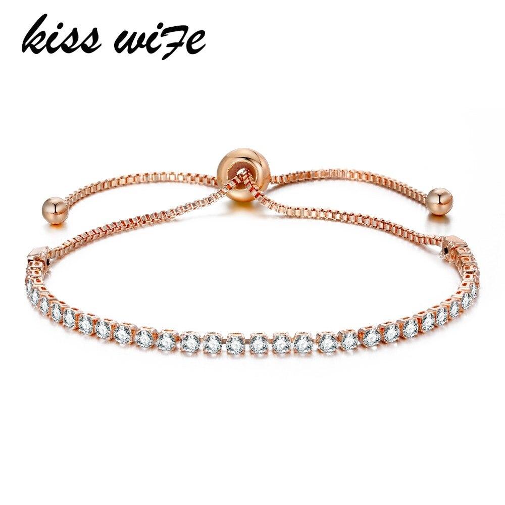 KISSWIFE, pulsera de moda para mujer con diamantes de imitación, pulsera de circonia cúbica de moda, brazaletes ajustables, joyería bonita, pulsera para regalo, joyería para fiesta