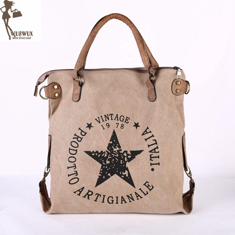 new fashion canvas women shoulder bag Large capacity casual handbags for ladies Pentagram printing vintage style women bag