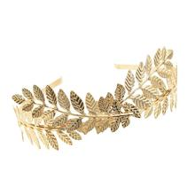 Baroque Forehead Gold Color Metal Leaf Greek Hair Band Tiaras For Women Head Jewelry Bridal Headpiece Wedding Hair Accessories