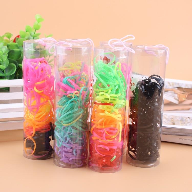 120 uds/botella nuevo barato pequeño accesorios para el cabello lindo colorido bandas elásticas para el pelo niños diadema para el pelo cuerda goma Goma