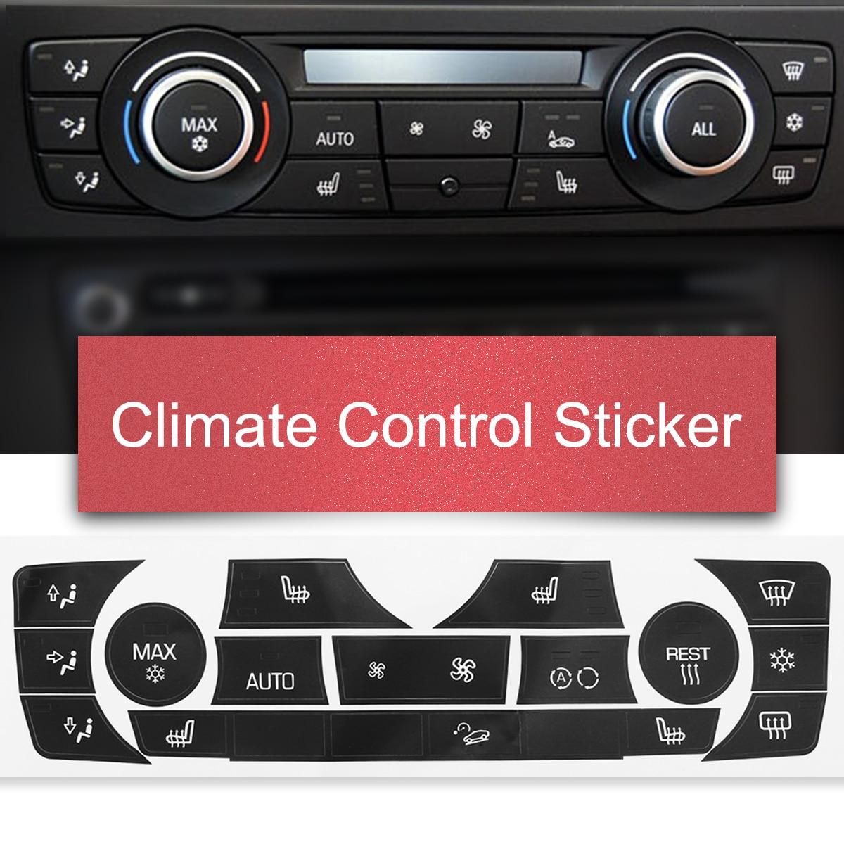 1 unidad de pegatina de botón de Control de clima AC Kit de pegatina de reparación de botón de Panel para BMW E90 E91 E92 330I 06-11 tipo Regular