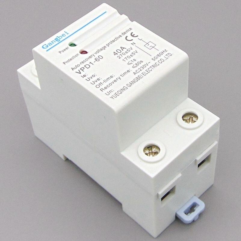 Reconecte a recuperação automática do trilho do ruído de VPD1-60 230 v sobre a tensão e sob o relé protetor do dispositivo protetor da tensão