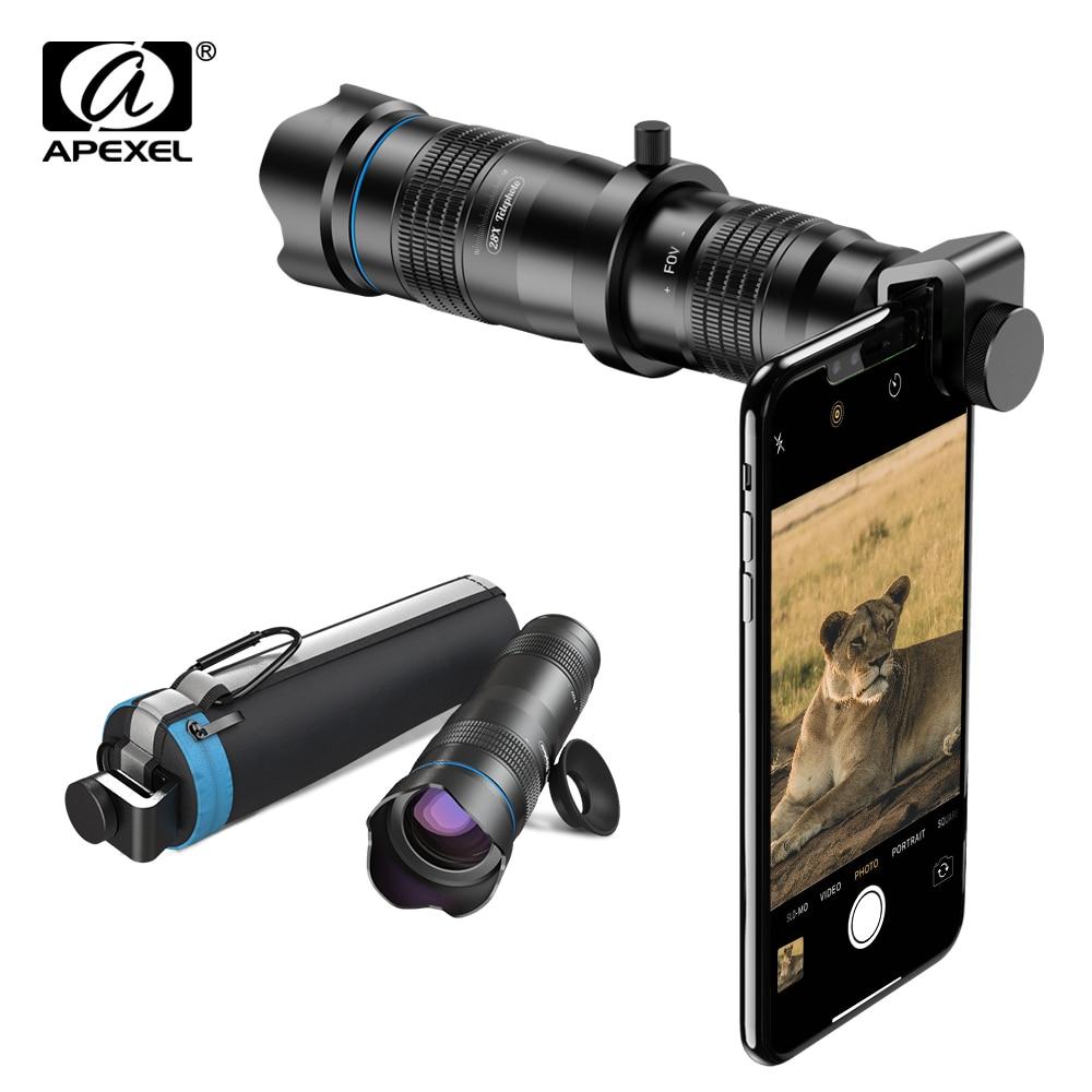 APEXEL-عدسة تكبير/تصغير للهاتف الخلوي ، عدسة أحادية مع حامل ثلاثي لصور السيلفي صغير ، متوافق مع جميع الهواتف الذكية ، 28X HD