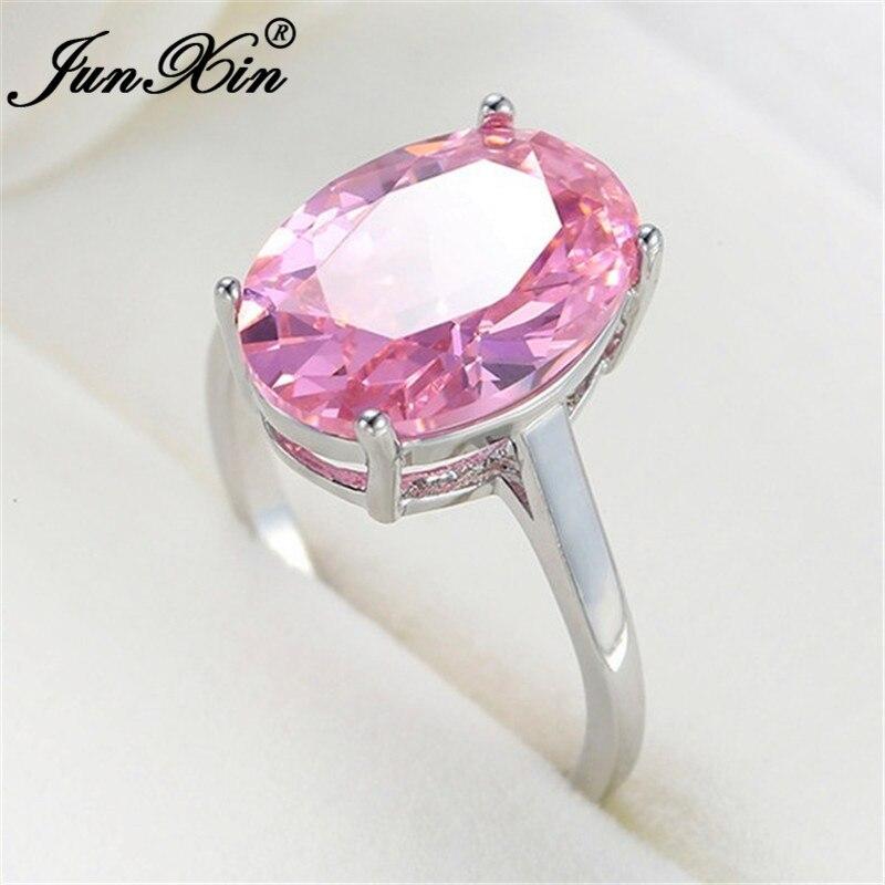 Junxin bonito rosa cristal grande oval anéis de pedra para as mulheres cor prata minimalista único zircão casamento bandas anel de noivado