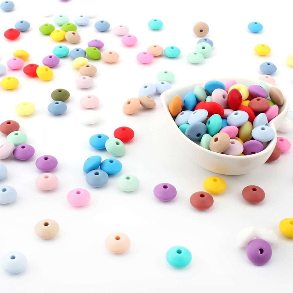 Halten & wachsen 50 stücke Silikon Perlen 12mm Food Grade Linsen Silikon Perlen DIY Baby Anhänger Halskette Silikon Beißring
