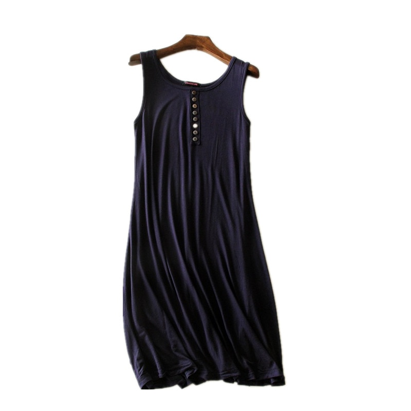 2020 New summer nightdress sleeveless cotton night dress women summer nightgown o-neck modal night wear gown women's nightshirt