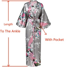 Sexy femmes longue Robe avec poche mariage mariée demoiselle dhonneur Robe de chambre rayonne Kimono peignoir grande taille S-XXXL Robe de nuit
