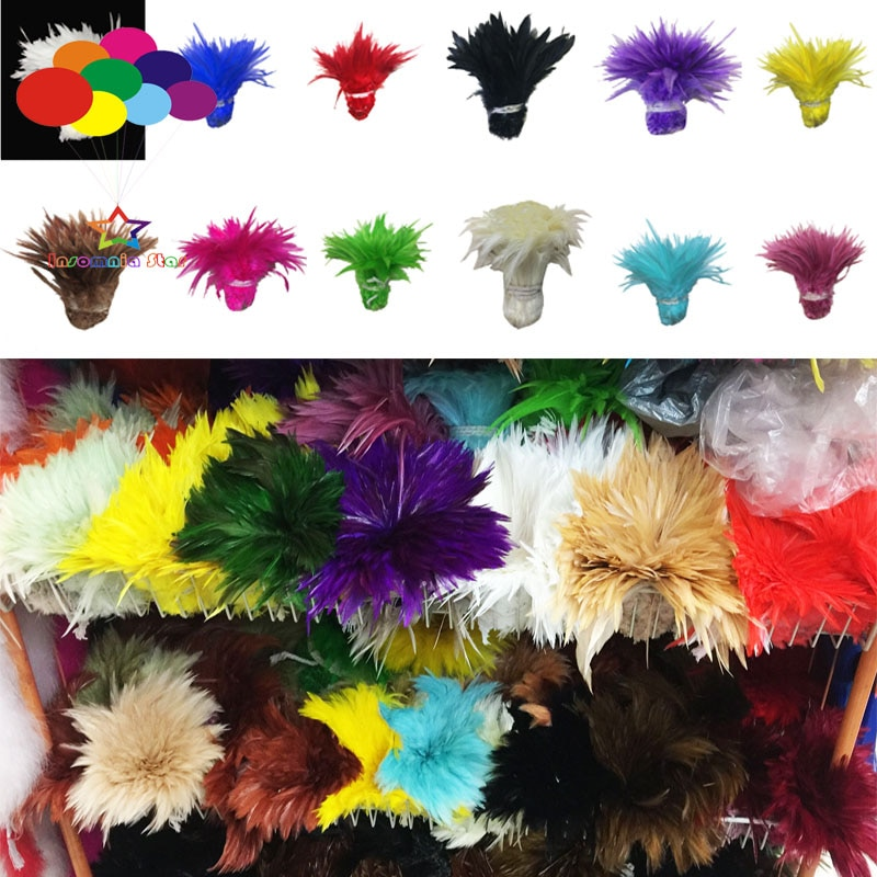 1000 Uds carnaval Gallo silla de la pluma de Hackle Strung 4-6 pulgadas/10-15 cm ribete de plumas de pollo cintas para gallos