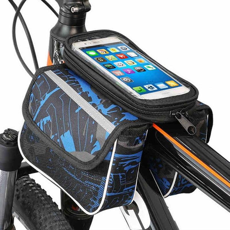 Bolso de teléfono móvil de 6,2 pulgadas con pantalla táctil MTB, marco superior de bicicleta de carretera, soporte de almacenamiento de ciclismo