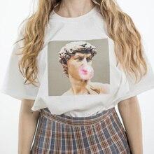 David Michelangelo Summer Short Sleeve Printed statue Bubble gum chewing gum print Fun Harajuku tshirt Plus size new T-shirtTops