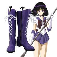 Anime Sailor Moon Sailor Saturn Tomoe Hotaru Cosplay Shoes Purple Boots Custom-made