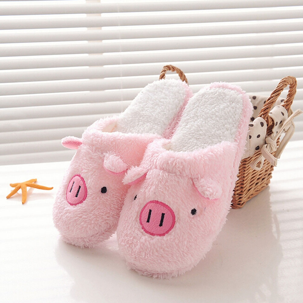 Home Slippers Women Shoes 2020 Winter Shoes Woman Lovely Pig Fur Slides Floor Soft Stripe Slipper Cute Warm Тапочки Buty Damskie