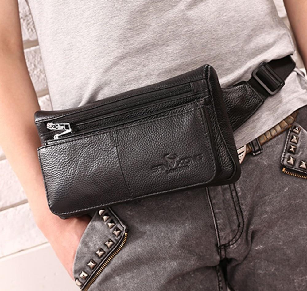 Men Genuine Leather  Fanny Pack Waist Chest Bag Vintage Travel Shoulder Messenger Hip Belt Bum Pouch Sling Pack Chest Bag