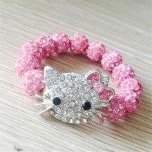 Crianças presente 1 pçs hello kitty pulseiras para crianças artesanal corda corrente envoltório charme pulseiras