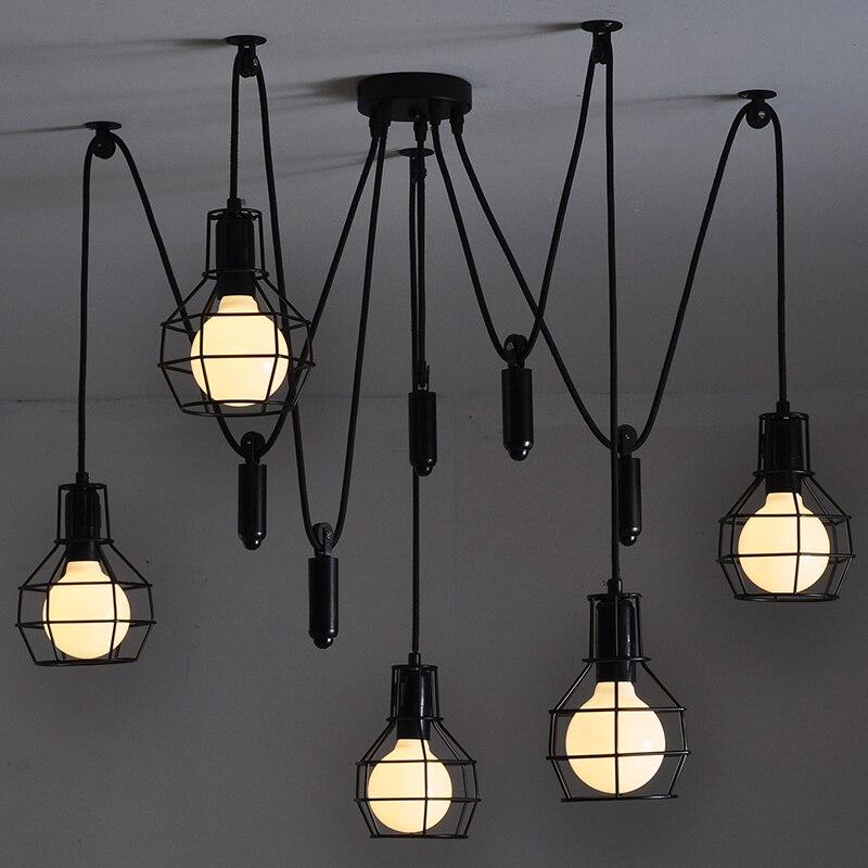5-luz de Levantamento Polia de Metal Pequeno Gaiola Edison Vintage Luz de Teto Industrial LOFT E27 Cafe Bar Club Loja Restaurante