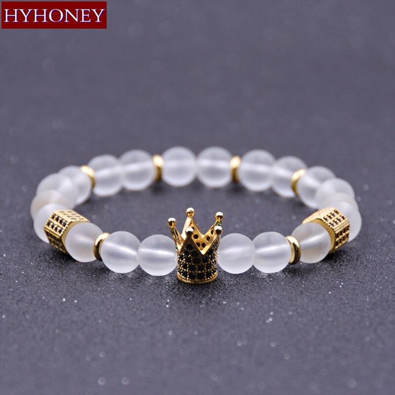 HYHONEY Piedra Natural blanco mate cuentas Micro pavimentar CZ brazalete con abalorio con forma de corona para mujeres pulseras y brazaletes joyería de Yoga para hombres