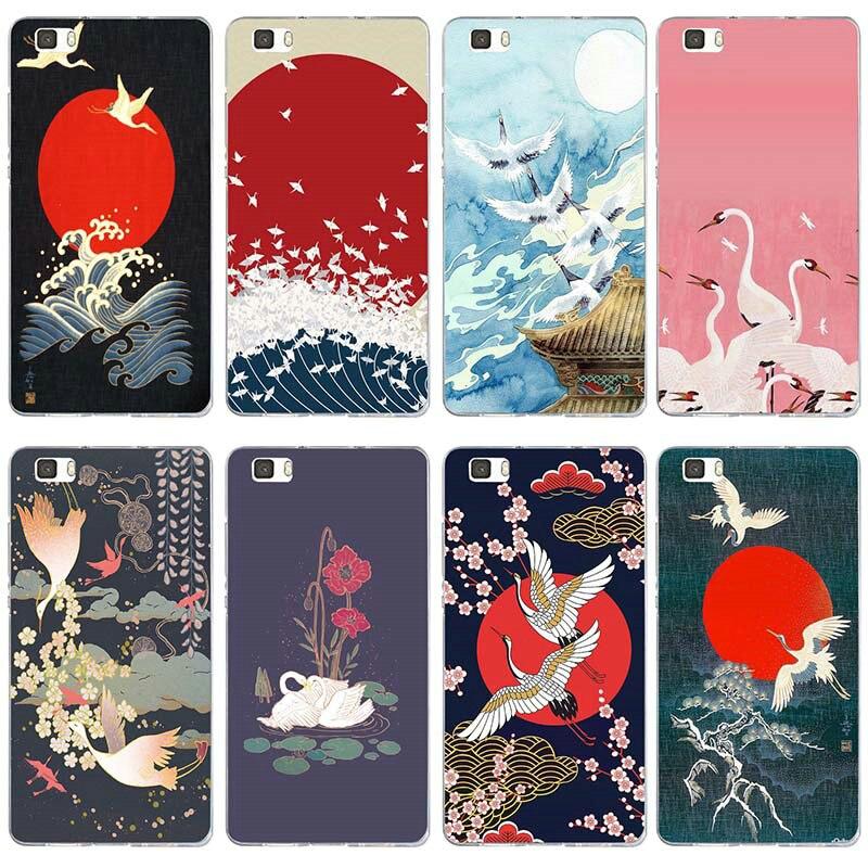 Arte onda Verde Japonês Ilus Para Huawei P8 P9 P10 P20 P30 Y5 Y6 II Y7 Honra 6X9 companheiro 10 Pro Lite TPU Macio Casos de Telefone