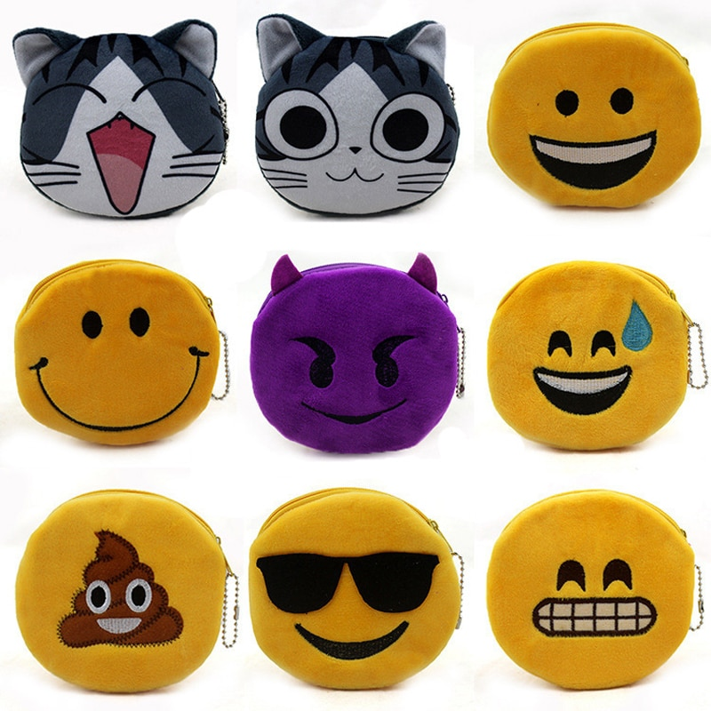 BLEVOLO lindo monedero de felpa moda Unisex cremallera pequeña cartera monederos mujeres gato sonrisa cara clave bolsa Banco tarjeta paquete dinero bolsa