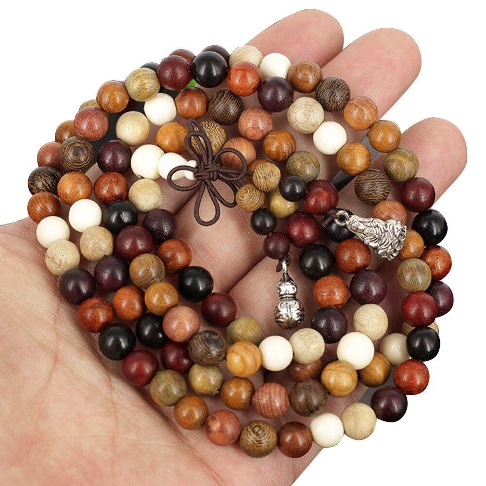 2019 de 108 cuentas/6/8mm variedad de madera de sándalo oración budista tibetana cuentas pulseras Buda Mala Rosario de madera encanto bracelet495