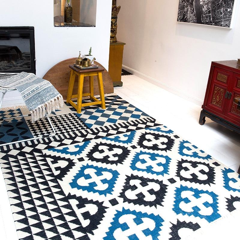 Kilim Solid 100% WOOL morocco Living room Carpet geometric blue Indian Rug bohemia flower Modern Mat design Nordic style