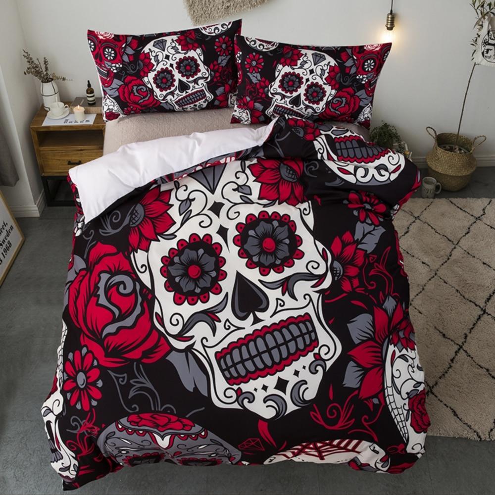 Dropshipping juego de cama para cama King Size 3D azúcar edredón funda de almohada AU Queen estilo Halloween negro y cráneo rojo