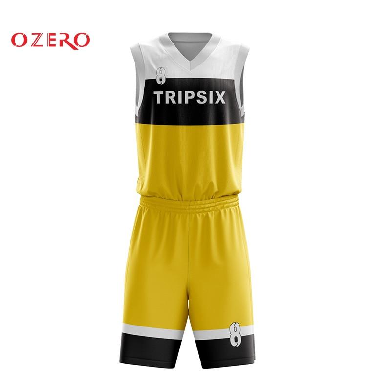 Camiseta de baloncesto azul y amarillo en blanco imágenes plantilla patrón diseño
