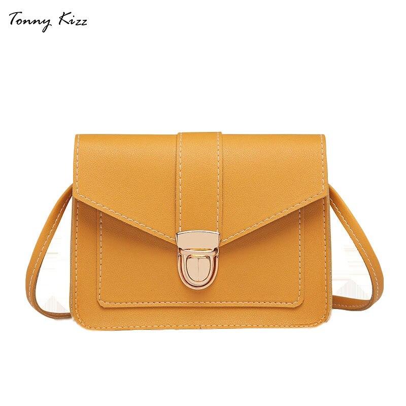 Jednolita torba crossbody torby dla kobiet małe skórzane dziewczyny torba na ramię panie torebki klapa kieszeń żółty kolor moda nowy