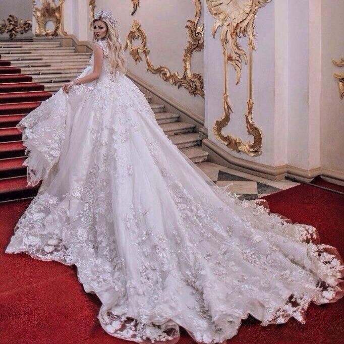 Precioso Vestido De novia 3D De Arabia Saudita con flores De encaje, vestidos De novia, Vestido De novia con cola De cristal real Vintage
