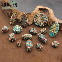 15 Styles rétro népal perles à la main rouge corail tibétain perle Antique or pour la fabrication de bijoux bracelets à faire soi-même 1168