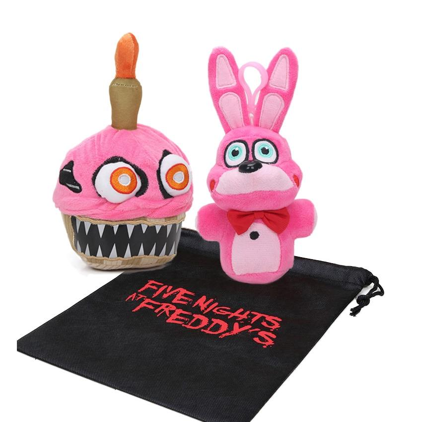 3 unids/set 18 cm 20 cm gorro Rosa FNAF juguetes de peluche cinco noches en el juguete de peluche de Cupcake de la pesadilla de Freddy muñecas de peluche suave