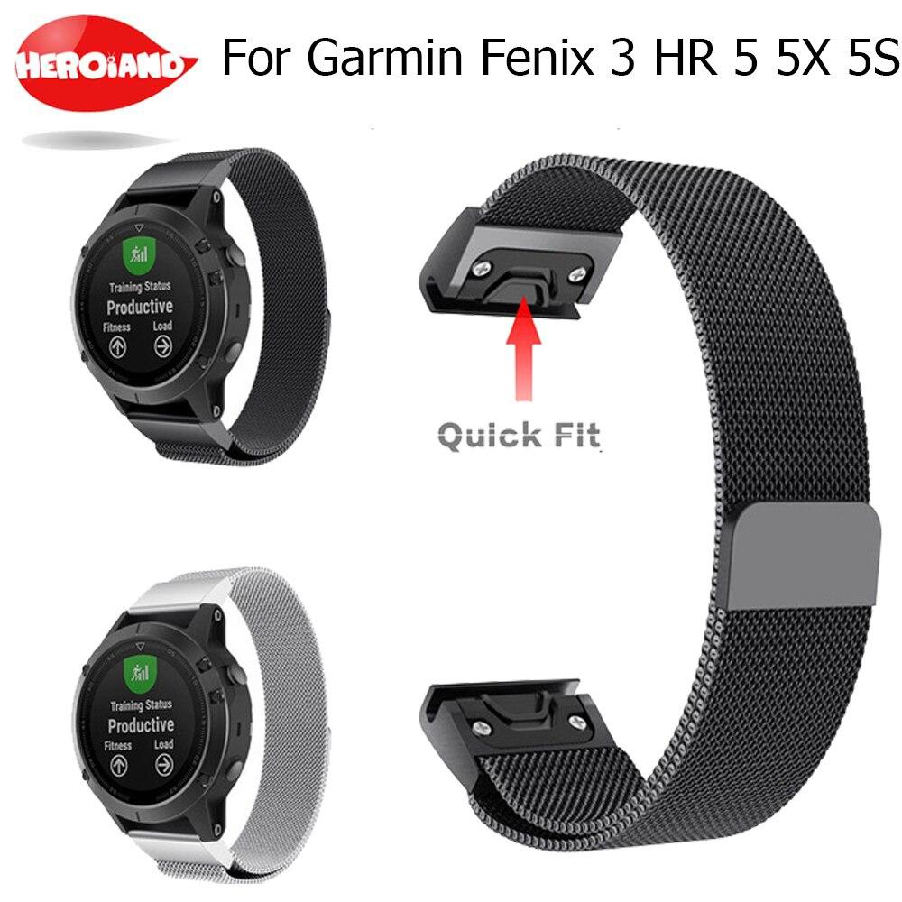 Correa Milanese Loop de liberación rápida de 20 22 26 mm para reloj Garmin Fenix 3 HR 5X 5S para Garmin Forerunner 935
