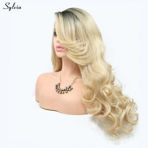Sylvia High Temperature Fiber New Blonde Wavy Wig Dark Roots to Gold Color Long Synthetic Lace Front Wigs for Girls Women Ladies