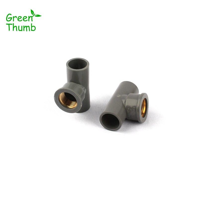 20 piezas Green Thumb 1/2 pulgadas de PVC Conector en T interno diámetro 20mm rosca hembra de latón Tee adaptadores horticultura riego juntas PVC