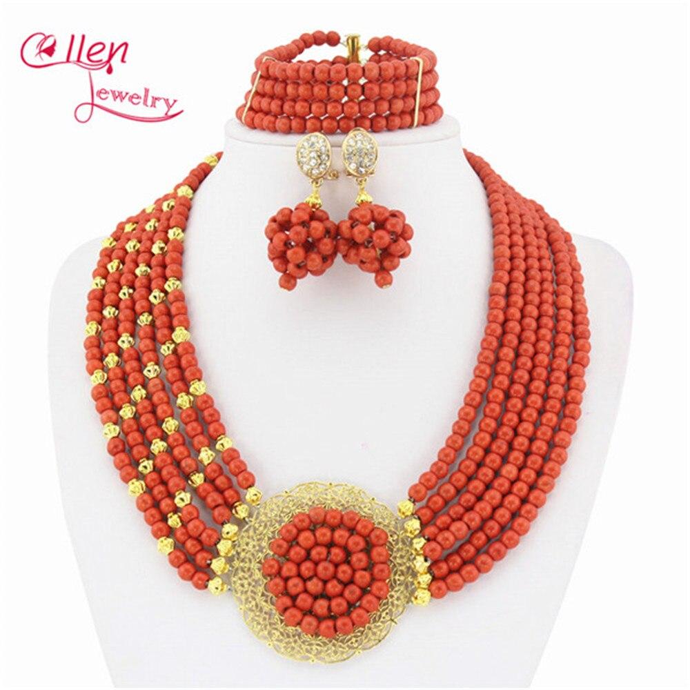Red Coral Jóias Conjunto Africano Contas de Coral Conjunto de Colar Nigeriano Beads Casamento Africanos Set Jóias TL1702